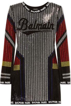 f9d8740f434 Balmain Intarsia-trimmed Crystal-embellished Stretch-jersey Mini Dress -  Black