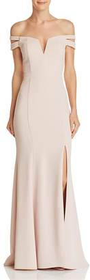 Aqua Off-the-Shoulder Double-Strap Gown - 100% Exclusive