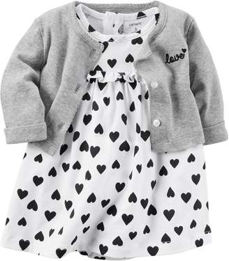 Carter's Baby Girl Heart Bodysuit Dress & Cardigan Set