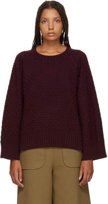 See by Chloe Burgundy Textured Knit Sweater