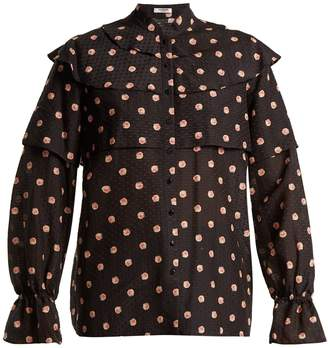 Vilshenko Orsha peony-print cotton and silk-blend blouse