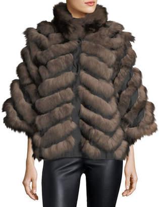 Belle Fare Chevron Fox Fur Reversible Cape Coat