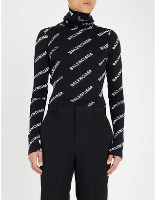 Balenciaga Logo-print turtleneck knitted jumper