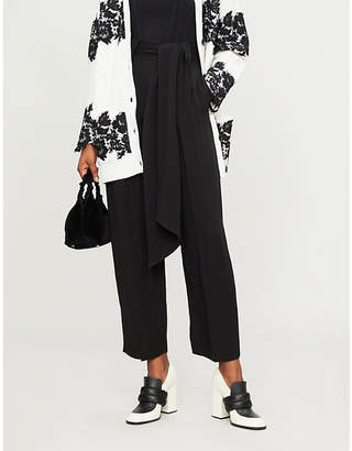 Valentino Wide cropped silk-crepe trousers