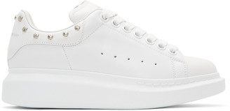 Alexander McQueen White Studded Oversized Sneakers $570 thestylecure.com