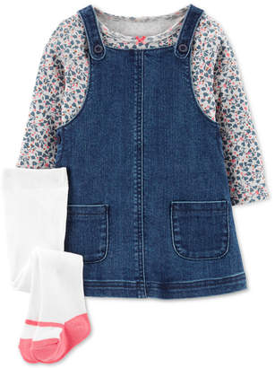 Carter's Carter Baby Girls 3-Pc. Floral-Print T-Shirt, Denim Jumper & Footed Tights Set