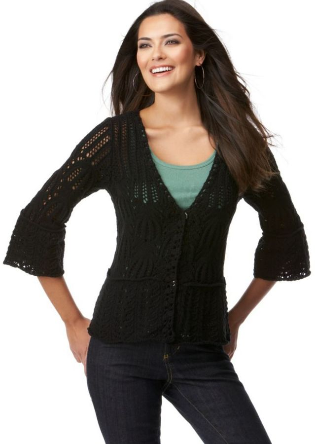 Style&co. Three-Quarter-Sleeve Crocheted Cardigan