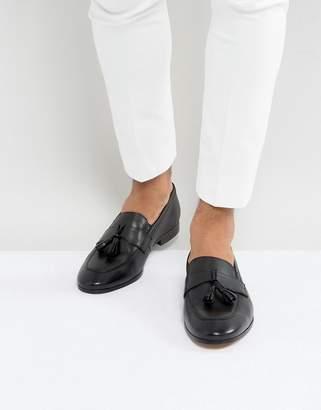 Dune Tassel Loafers Black Leather