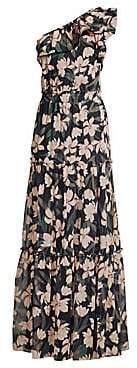 Shoshanna Women's Biella Floral One-Shoulder Silk Gown