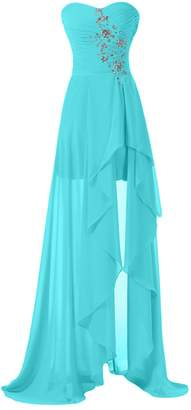 Sunvary High Low Strapless Chiffon Bridesmaid Evening Dresses Prom Gowns Long Size
