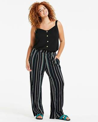 Fashion World Stripe Wide Leg Jersey Trousers Long