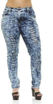 V.I.P.JEANS Ripped Distressed Washed Skinny Stretch Jeans For Women Junior or Plus Sizes