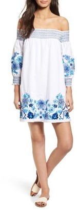 Women's Parker Jace Embroidered Off The Shoulder Shift Dress $348 thestylecure.com