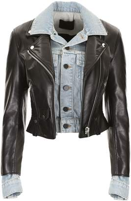 Alexander Wang Leather And Denim Jacket