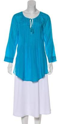 Calypso Silk-Blend Long Sleeve Tunic