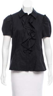 Magaschoni Ruffle-Trimmed Short Sleeve Top