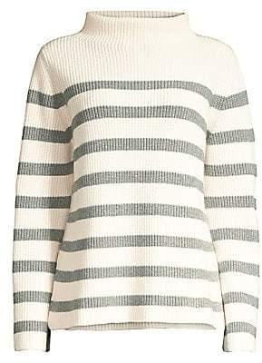 Peserico Women's Stripe Oversize Fleece Wool, Silk & Cashmere Turtleneck Sweater