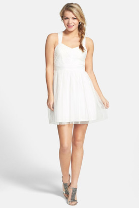 Hailey Logan Mesh Party Dress (Juniors) $89 thestylecure.com