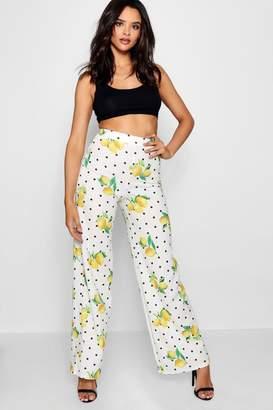 boohoo Lemon Polka Dot Crepe Wide Leg Trouser