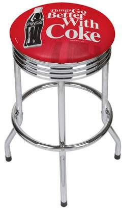Trademark Gameroom Coke Chrome Ribbed Bar Stool