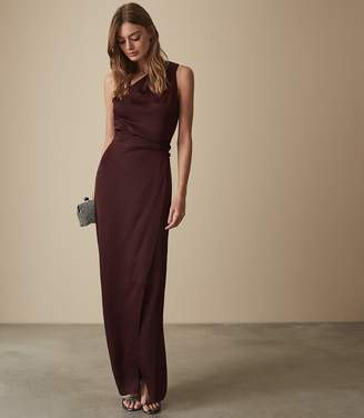 Reiss Our last order date for Christmas has now passed AERIN CROSS STRAP DETAIL MAXI DRESS Deep Berry