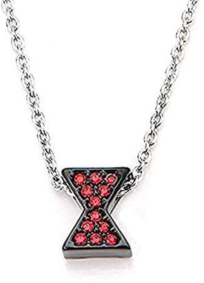 Marvel Women's Stainless Steel Avengers Widow Necklace with Red Cubic Zirconia Gems Necklace