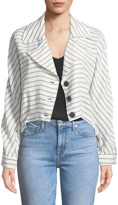 Neiman Marcus Striped Cropped Summer Jacket