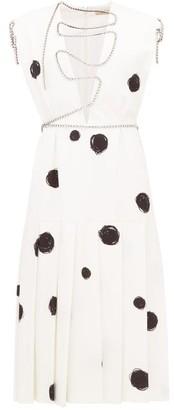 Christopher Kane Polka Dot Squiggle Cupchain Crepe Midi Dress - Womens - White Black