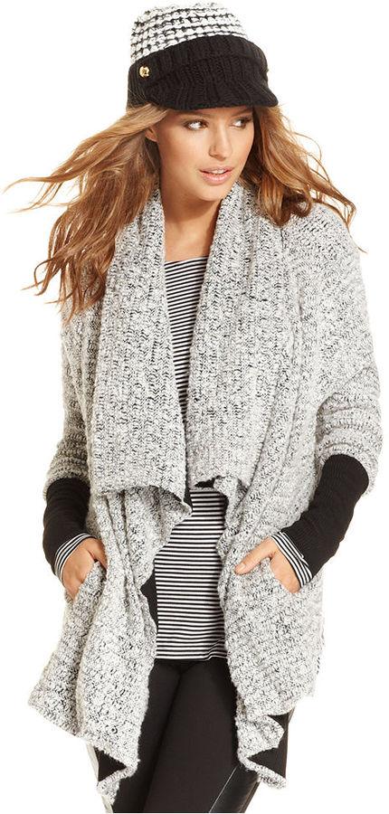 Bar III Sweater, Long-Sleeve Open-Front Draped Cardigan