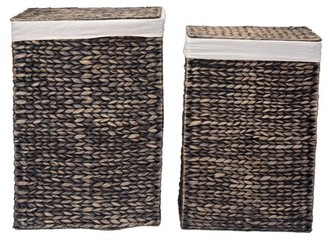 DTX Intl Villacera Portable Handmade Wicker Laundry Hampers with Lid made of Water Hyacinth | Set of 2