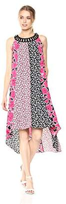 Jones New York Women's Mixed Print Hi Low Hem Dress