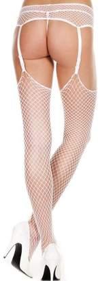 Music Legs Mini diamond net spandex garterbelt stockings 7832-WHITE