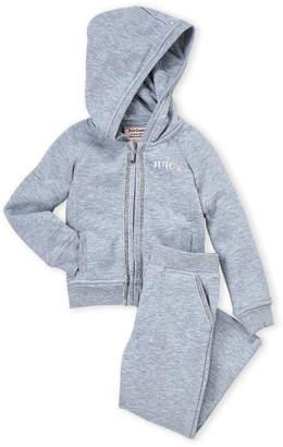 Juicy Couture Girls 4-6x) Two-Piece Heather Grey Zip-Up Hoodie & Sweatpants Set
