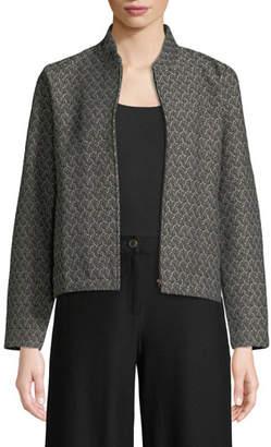 Eileen Fisher Rosette Jacquard Zip-Front Long-Sleeve Short Jacket, Petite