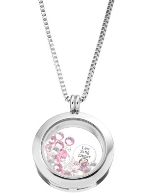 """Swarovski Blue La Rue Crystal Stainless Steel 1-in. Round """"Love"""" Charm Locket - Made with Crystals"""