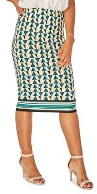 Dorothy Perkins Geometric-Print Knee-Length Pencil Skirt