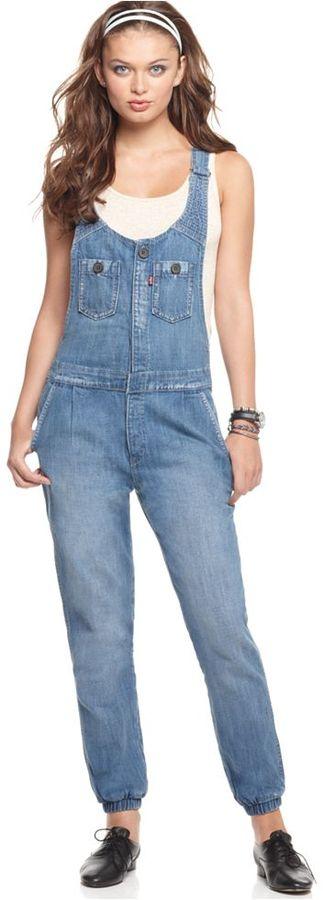 Levi's Jeans, Sleeveless Tapered Leg Overalls Romper, Heirloom Wash