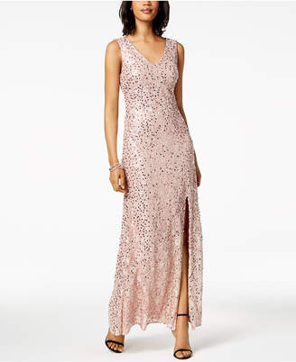 Night Way Nightway Sequined Lace Slit Gown