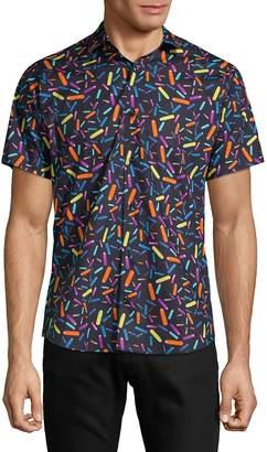 Jared Lang Men's Printed Cotton Button-Down Shirt