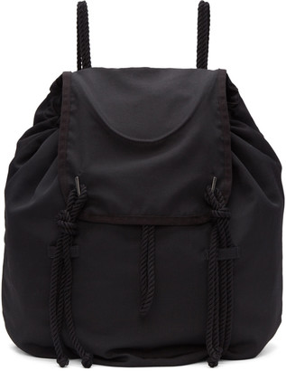 Yohji Yamamoto Black Drawstring Backpack $820 thestylecure.com