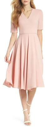 Gal Meets Glam Edith City Crepe Fit & Flare Dress