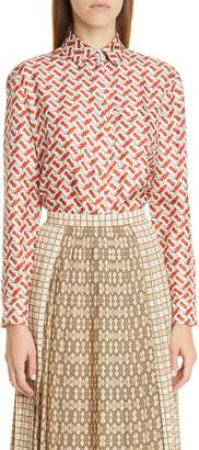 Burberry Piper Pleated Contrast Print Midi Skirt
