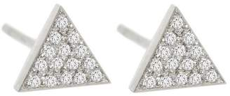 Jennifer Meyer Mini Diamond Triangle Stud Earrings - White Gold