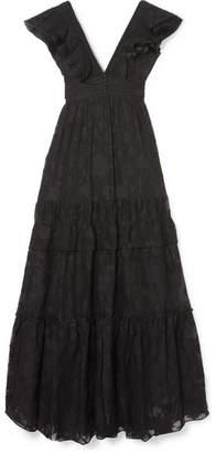 Rachel Zoe Violet Ruffled Fil Coupé Cotton And Silk-blend Gown - Black