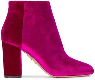 Aquazzura Pink Brooklyn 85 Velvet Ankle Boots
