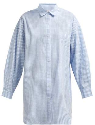 Mes Demoiselles Checked Oversized Cotton Shirt - Womens - Blue White