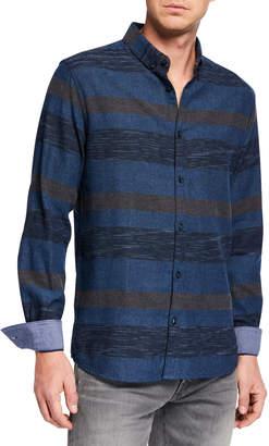 Noize Amstrdm Men's Striped Woven Sport Shirt