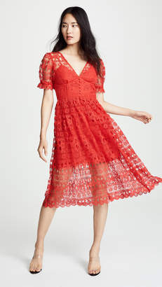 Self-Portrait Self Portrait Red Lace Midi Dress