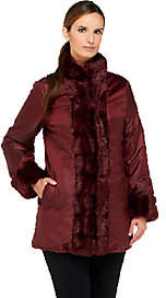 Dennis Basso Reversible Faux Fur Coat withStand Collar