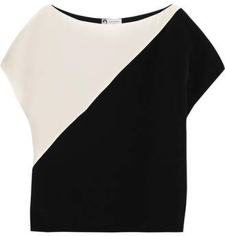 Lanvin - Two-tone Silk Crepe De Chine Top - Ivory $1,050 thestylecure.com